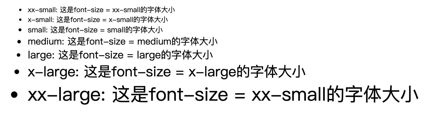 不同font-size的大小